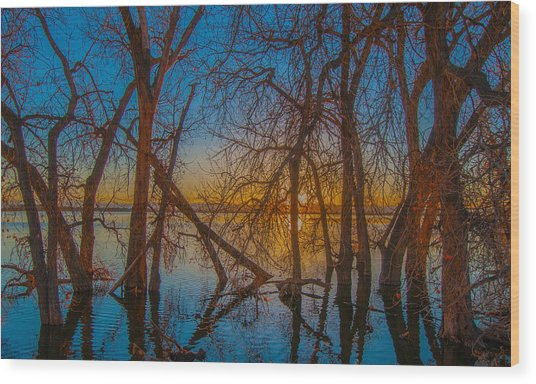 Sunset Over Barr Lake_2 Wood Print
