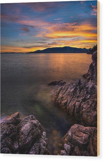 Sunset Over Bowen Island Wood Print