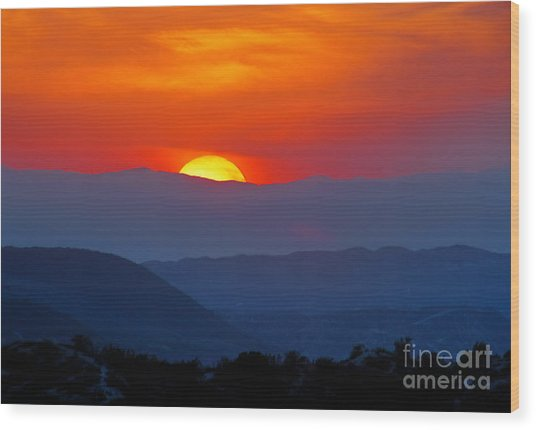 Sunset Over California Wood Print