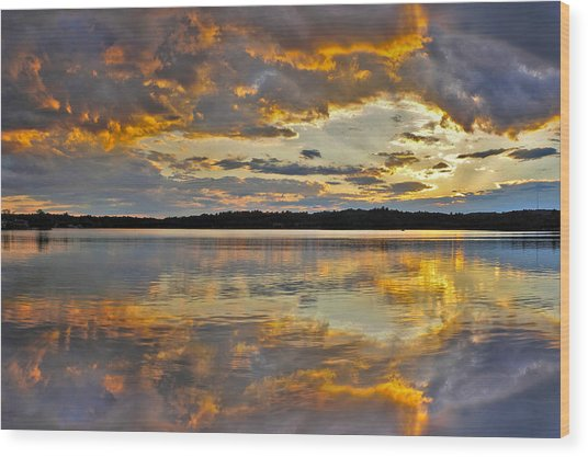 Sunset Over Canobie Lake Wood Print