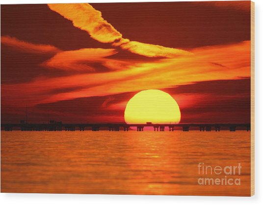 Sunset Over Causeway Wood Print