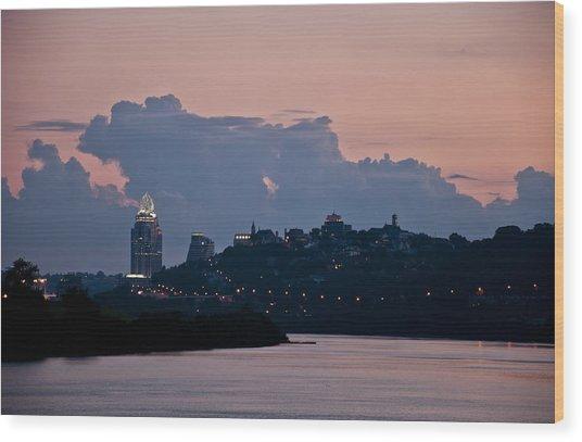 Sunset Over Cincinnati Wood Print