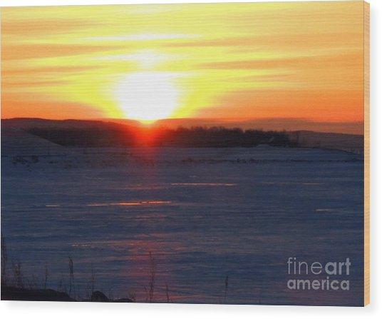 Sunset Over Devils Lake Wood Print