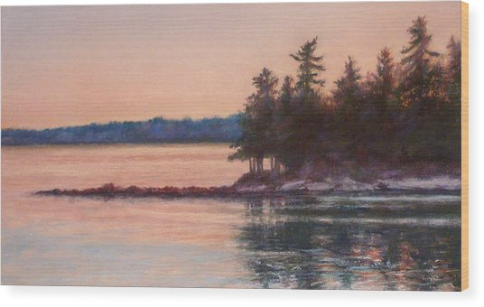Sunset Over Emerald Point Lake Sebago Maine    Wood Print