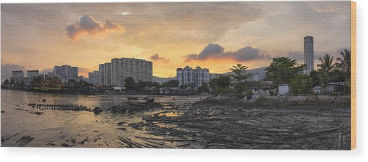 Sunset Over Georgetown Penang Malaysia Wood Print