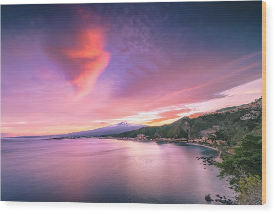 Sunset Over Giardini Naxos Wood Print