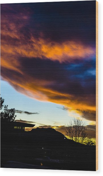 Sunset Over Granite Mountain And Ac1 Wood Print