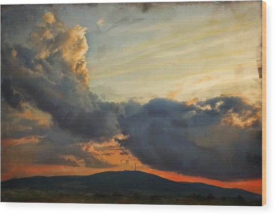 Sunset Over Holy Cross Mountains Wood Print by Anna Gora