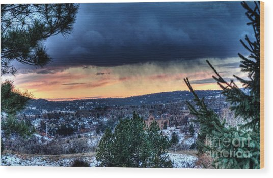 Sunset Over Hot Springs Wood Print