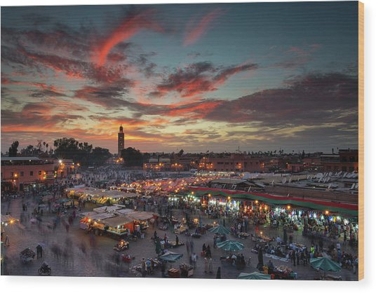 Sunset Over Jemaa Le Fnaa Square In Marrakech, Morocco Wood Print