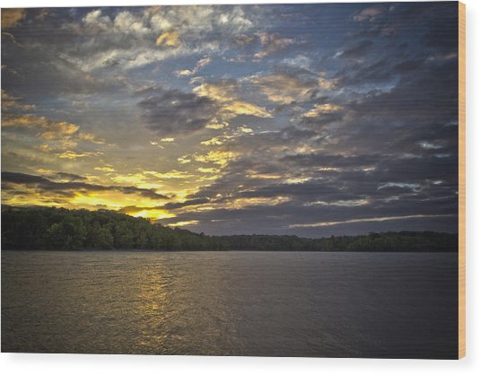 Sunset Over Kerr Lake Wood Print
