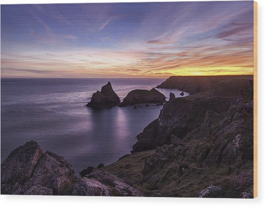 Sunset Over Kynance Cove Wood Print