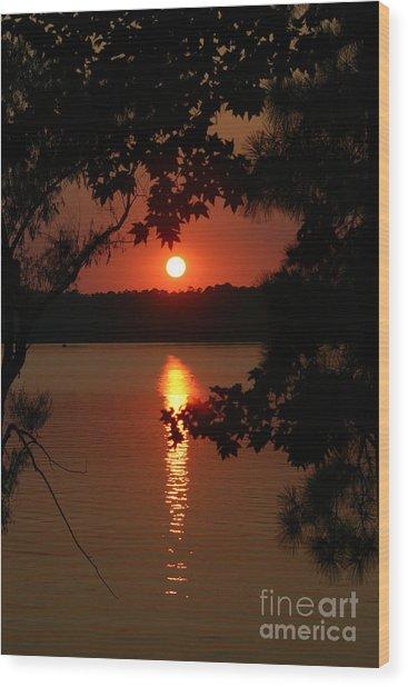 Sunset Over Lake Wood Print