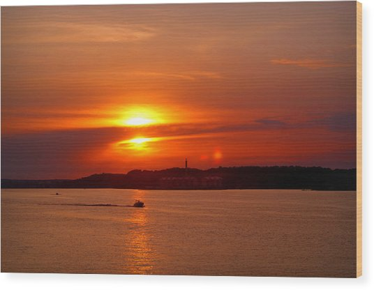 Sunset Over Lake Ozark Wood Print