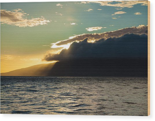 Sunset Over Lanai   Wood Print