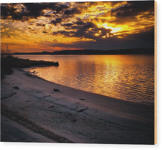 Sunset Over Little Assawoman Bay Wood Print