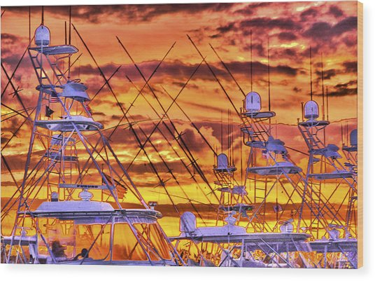 Sunset Over Marina Wood Print