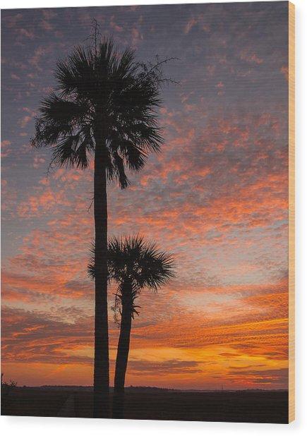 Sunset Over Marsh Wood Print