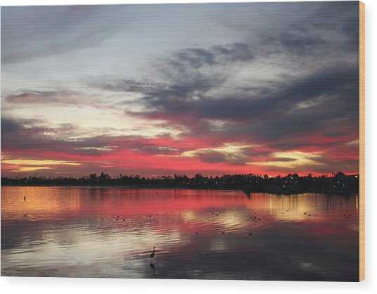 Sunset Over Mission Bay  Wood Print