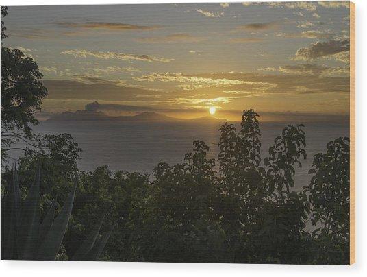 Sunset Over Montseratt Wood Print