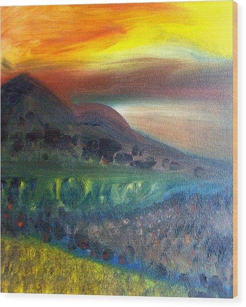 Sunset Over Mountains  Wood Print by Michaela Kraemer