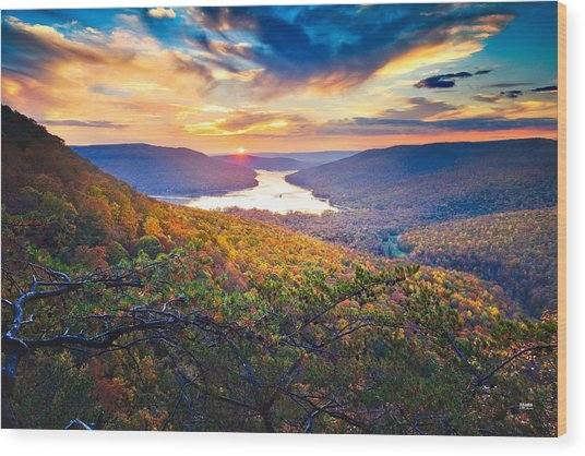 Sunset Over Mullins Cove Wood Print