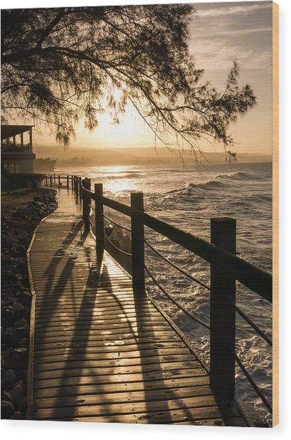 Sunset Over Ocean Walkway Wood Print