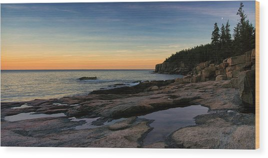 Sunset Over Otter Cliffs Wood Print