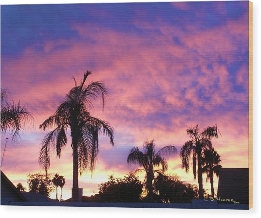 Sunset Over Palms Wood Print