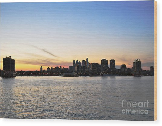 Sunset Over Philadelphia Wood Print