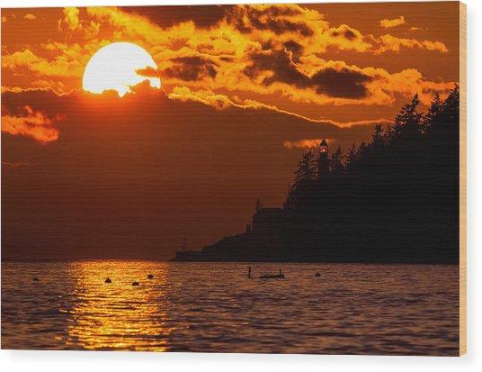 Sunset Over Point Atkinson Lighthouse Wood Print