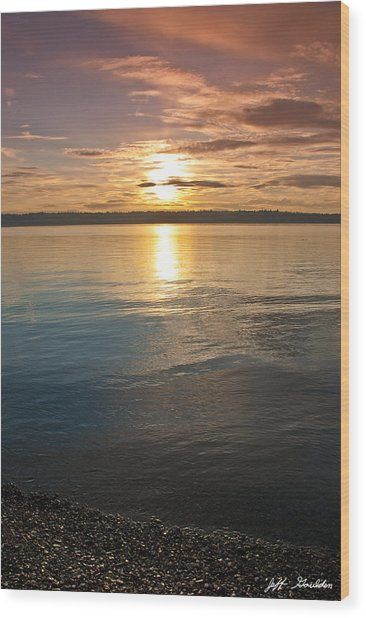 Sunset Over Puget Sound Wood Print