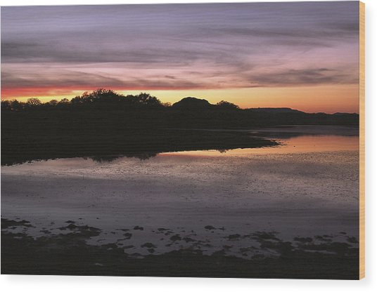 Sunset Over Quanah Parker Lake Wood Print