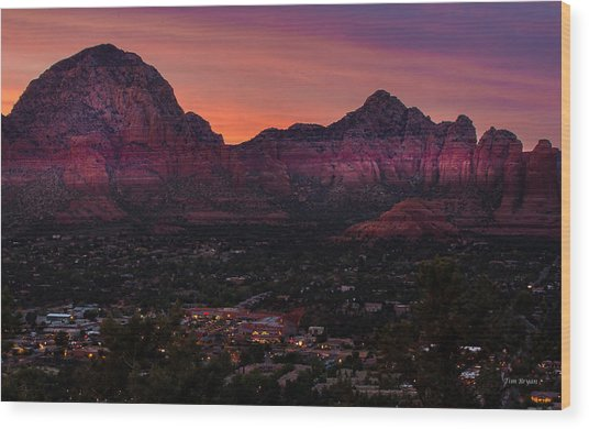 Sunset Over Sedona Az Wood Print