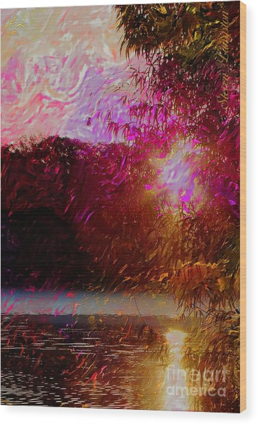 Sunset Over Soddy Wood Print by Steven Lebron Langston