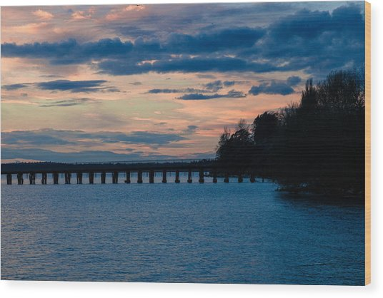 Sunset Over Squalicum Bay Wood Print