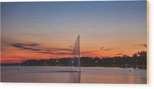 Sunset Over Storm Lake Wood Print by T C Hoffman