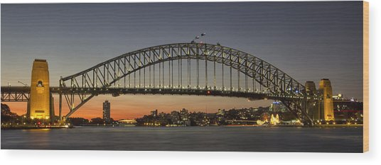 Sunset Over Sydney Harbour Bridge Wood Print by Kevin Hellon