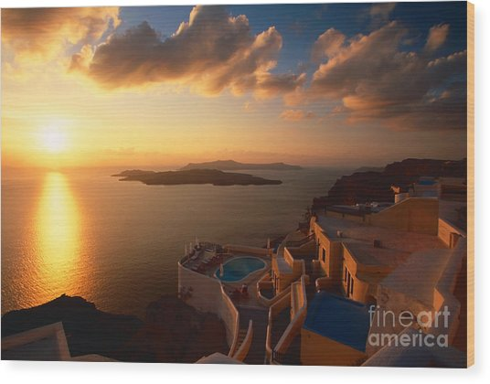 Sunset Over The Aegean Sea Wood Print