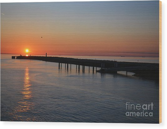 Sunset Over The English Channel Wood Print