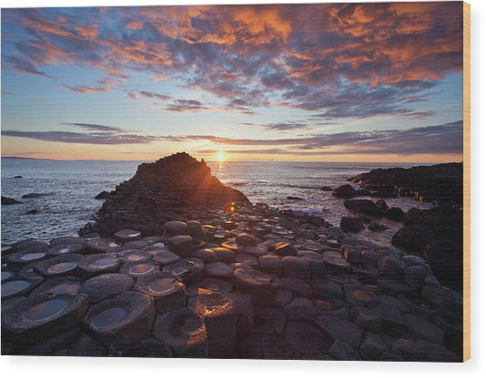 Sunset Over The Giants Causeway Wood Print by Gareth Mccormack
