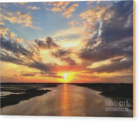 Sunset Over The Icw Wood Print
