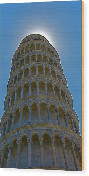 Sunset Over The Leaning Tower Wood Print