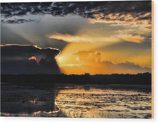 Sunset Over The Mead Wildlife Area Wood Print