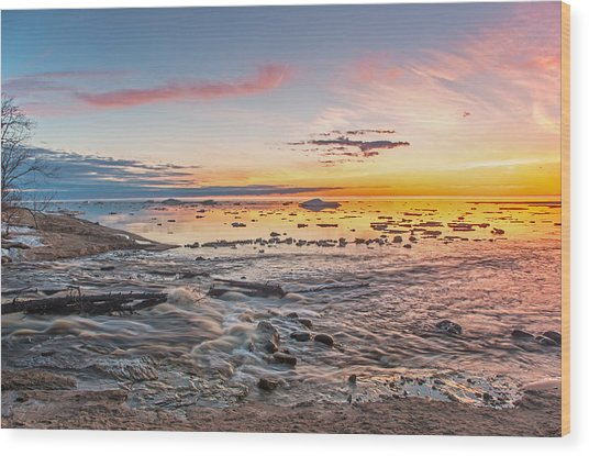 Sunset Over The Mouth Of The Hurricane River Wood Print