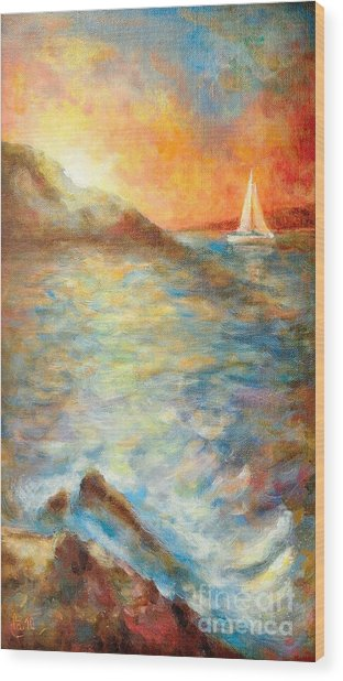 Sunset Over The Sea. Wood Print