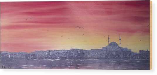 Sunset Over The Sea Of Marmar Wood Print