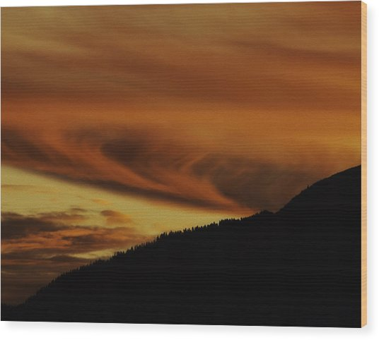 Sunset Over The Sierra-nevada Mountains Wood Print