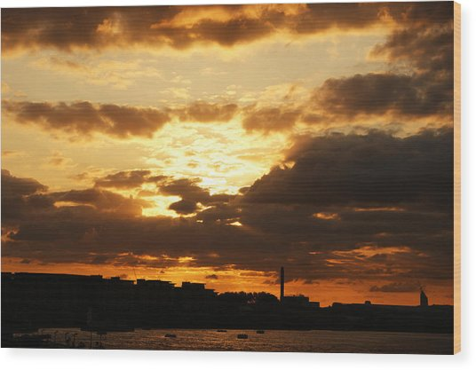 Sunset Over The Thames From Greenwich Wood Print