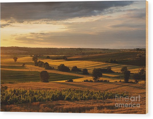 Sunset Over The Umbrian Countryside At Paciano Wood Print